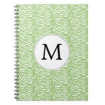 Personalized Monogram Green Zebra Stripes pattern Spiral Notebook