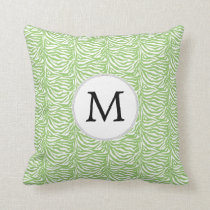 Personalized Monogram Green Zebra Stripes pattern Throw Pillow