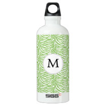 Personalized Monogram Green Zebra Stripes pattern Water Bottle