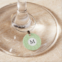 Personalized Monogram Green Zebra Stripes pattern Wine Glass Charm