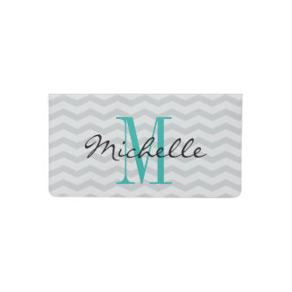 Personalized monogram grey chevron checkbook cover