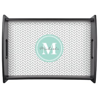 Personalized Monogram Grey & Seafoam Geometric Food Tray