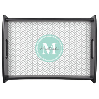Personalized Monogram Grey & Seafoam Geometric Serving Platter