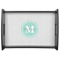 Personalized Monogram Grey & Seafoam Geometric Serving Tray
