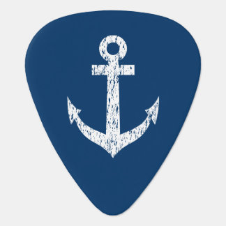 Personalized monogram guitar pick with boat anchor