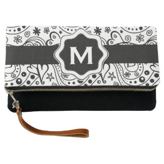 Personalized Monogram Hearts Love Doodle Pattern Clutch