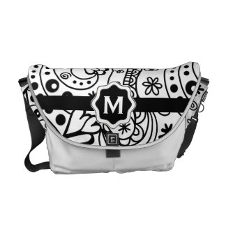 Personalized Monogram Hearts Love Doodle Pattern Courier Bag