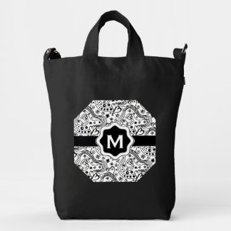 Personalized Monogram Hearts Love Doodle Pattern Duck Bag
