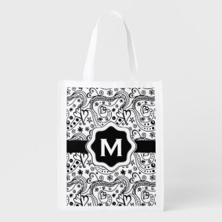 Personalized Monogram Hearts Love Doodle Pattern Grocery Bag