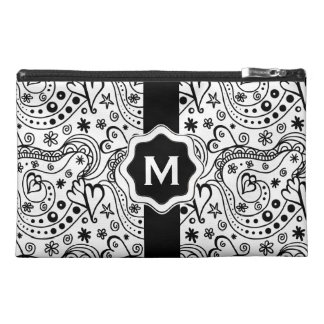 Personalized Monogram Hearts Love Doodle Pattern Travel Accessory Bag