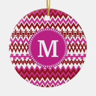 Personalized Monogram Hot Pink Red Tribal Chevron Ceramic Ornament