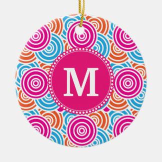 Personalized Monogram Hot Pink Teal Circles Ceramic Ornament