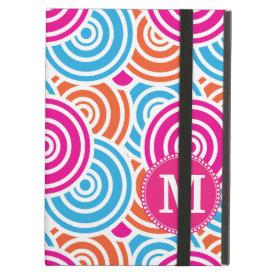 Personalized Monogram Hot Pink Teal Circles iPad Folio Case
