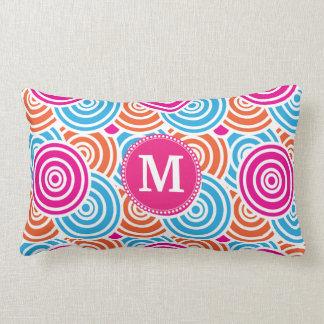 Personalized Monogram Hot Pink Teal Circles Throw Pillow