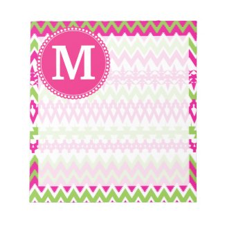 Personalized Monogram Hot Pink Tribal Chevron Scratch Pads