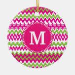 Personalized Monogram Hot Pink Tribal Chevron Ornament