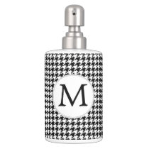 Personalized Monogram Houndstooth Pattern in Black Bathroom Set