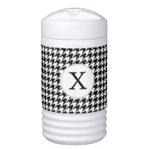 Personalized Monogram Houndstooth Pattern in Black Beverage Cooler