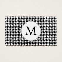 Personalized Monogram Houndstooth Pattern in Black Business Card