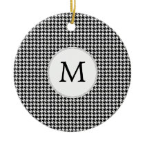Personalized Monogram Houndstooth Pattern in Black Ceramic Ornament