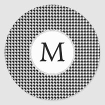 Personalized Monogram Houndstooth Pattern in Black Classic Round Sticker