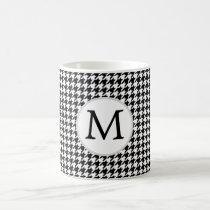 Personalized Monogram Houndstooth Pattern in Black Coffee Mug