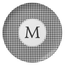 Personalized Monogram Houndstooth Pattern in Black Dinner Plate
