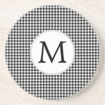 Personalized Monogram Houndstooth Pattern in Black Drink Coaster