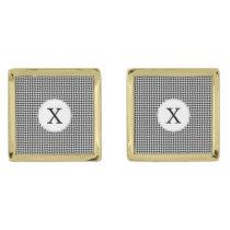 Personalized Monogram Houndstooth Pattern in Black Gold Cufflinks