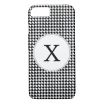 Personalized Monogram Houndstooth Pattern in Black iPhone 7 Case