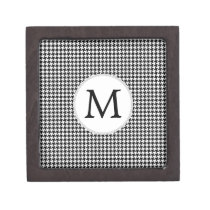 Personalized Monogram Houndstooth Pattern in Black Jewelry Box