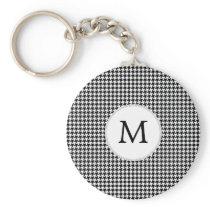 Personalized Monogram Houndstooth Pattern in Black Keychain