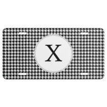 Personalized Monogram Houndstooth Pattern in Black License Plate