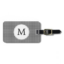 Personalized Monogram Houndstooth Pattern in Black Luggage Tag