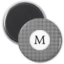 Personalized Monogram Houndstooth Pattern in Black Magnet