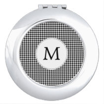 Personalized Monogram Houndstooth Pattern in Black Mirror For Makeup