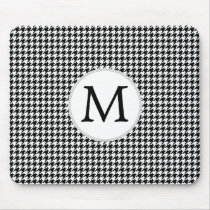 Personalized Monogram Houndstooth Pattern in Black Mouse Pad