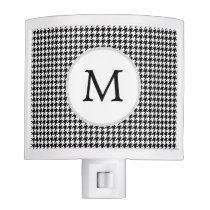 Personalized Monogram Houndstooth Pattern in Black Night Light