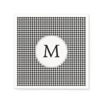 Personalized Monogram Houndstooth Pattern in Black Paper Napkin