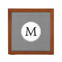 Personalized Monogram Houndstooth Pattern in Black Pencil Holder