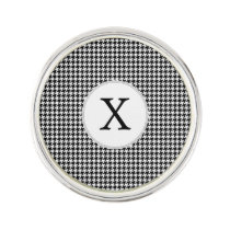 Personalized Monogram Houndstooth Pattern in Black Pin