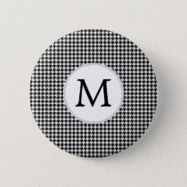 Personalized Monogram Houndstooth Pattern in Black Pinback Button