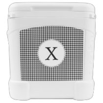 Personalized Monogram Houndstooth Pattern in Black Rolling Cooler
