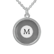 Personalized Monogram Houndstooth Pattern in Black Sterling Silver Necklace