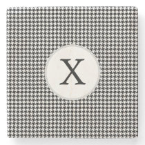 Personalized Monogram Houndstooth Pattern in Black Stone Coaster