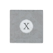 Personalized Monogram Houndstooth Pattern in Black Stone Magnet
