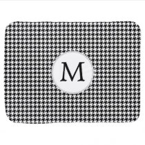 Personalized Monogram Houndstooth Pattern in Black Swaddle Blanket