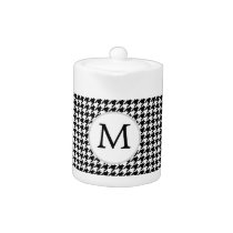 Personalized Monogram Houndstooth Pattern in Black Teapot