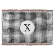 Personalized Monogram Houndstooth Pattern in Black Throw Blanket