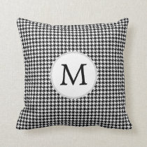 Personalized Monogram Houndstooth Pattern in Black Throw Pillow